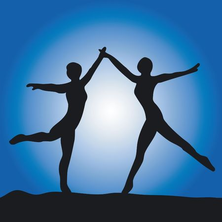 Two ballet dancer on a blue background Stock Photo