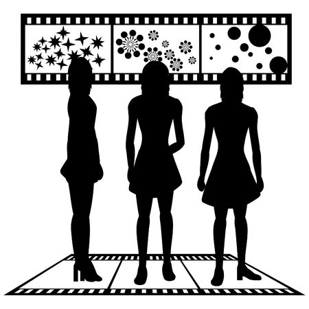Silhouettes of women with film strip background Stock Photo
