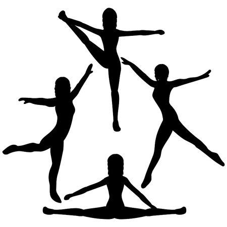 Siluetas de bailarinas  Foto de archivo - 351424
