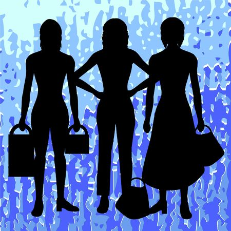 Silhouettes of women with retro background Stock Photo