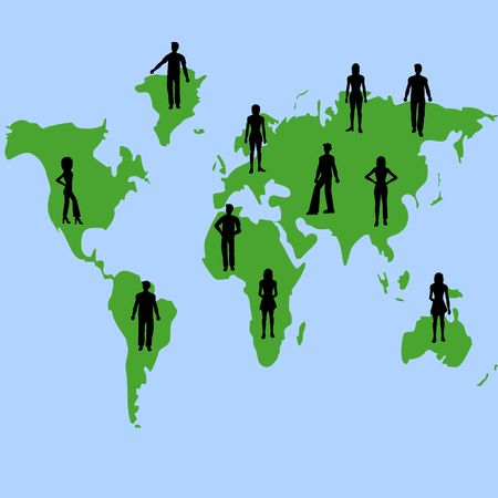 Silhouettes of people on a map of the world