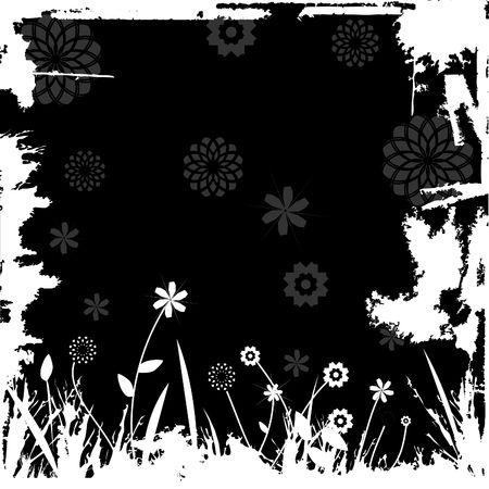 Floral image - grunge border