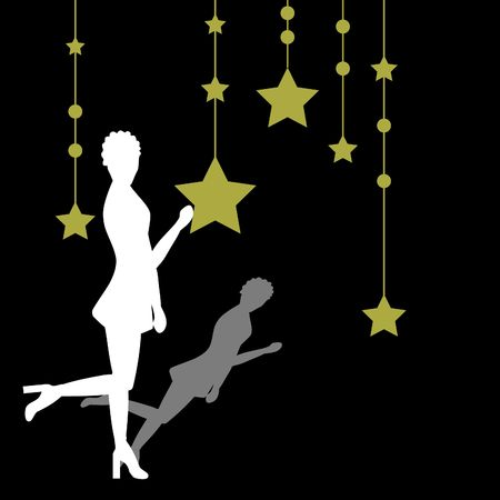 Woman with a star background