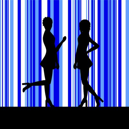 silhouettes of female dancers