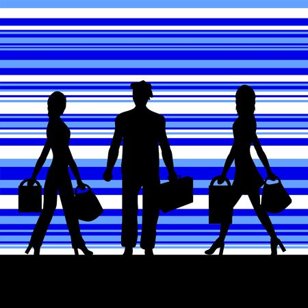 Silhouettes of people with a retro background Stock Photo
