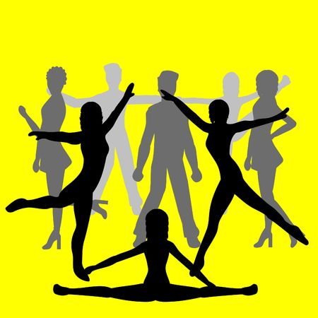 femme: Silhouettes of people dancing