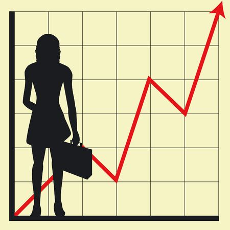 Graph showing rising profits with woman silhouette