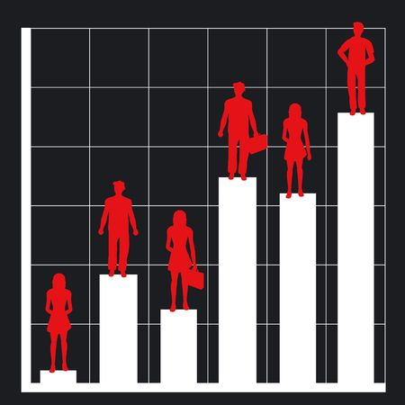 Graph showing rising profits with people silhouettes Stock Photo - 374153