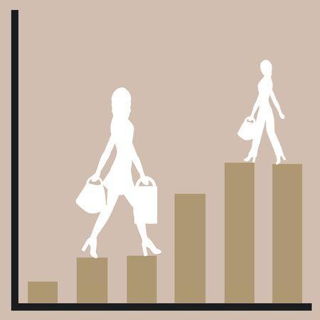siluetas mujeres: Gr�fico que muestra el aumento de los beneficios con las mujeres siluetas