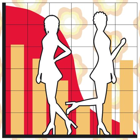 Silhouettes of women and business charts photo