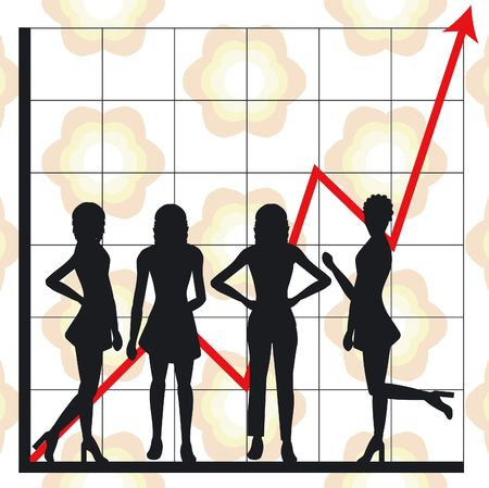Graph showing rising profits with people silhouettes