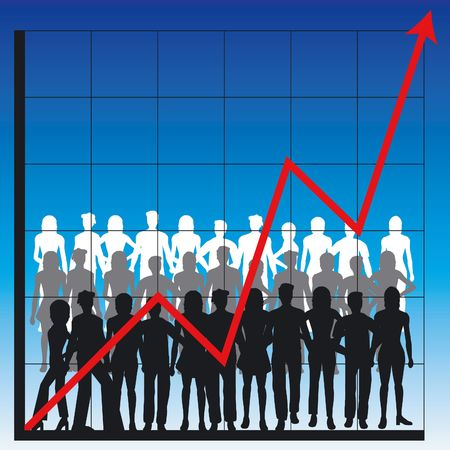 turnover: Graph showing rising profits with people silhouettes