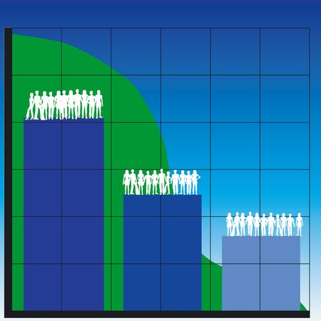 Silhouettes of men and women with business charts photo
