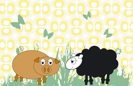 Pig and sheep Stock Photo - 384280