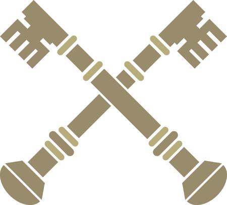 Golden crossed keys Vector