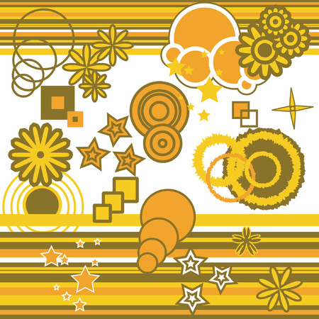 Retro style vector shapes and patterns Vector