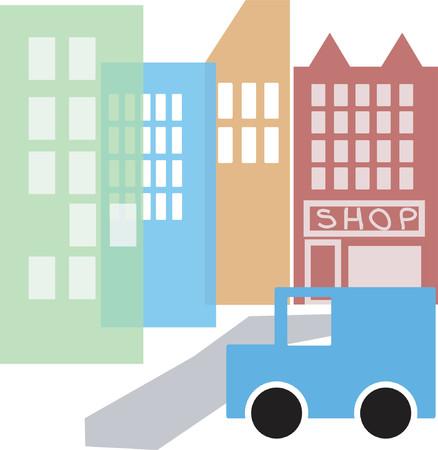 cartoon style cityscape Illustration