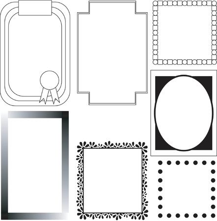 seven black and white borders Illustration