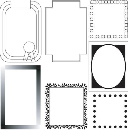 seven black and white borders Illustration