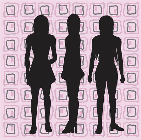 Silhouettes of women with retro background Vector