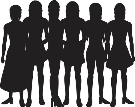 Silhouettes of women on a white background Vector
