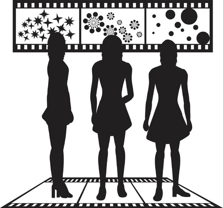 Silhouettes of women with film strip background Illustration