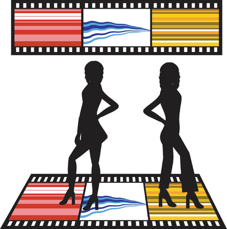 Silhouettes of women with film strip background Vector