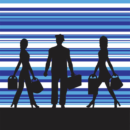 casual business team: silhouettes of shoppers Illustration
