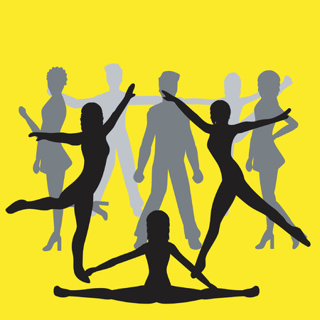 male ballet dancer: Silhouettes of people dancing