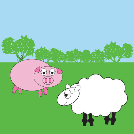 pig and sheep Vector