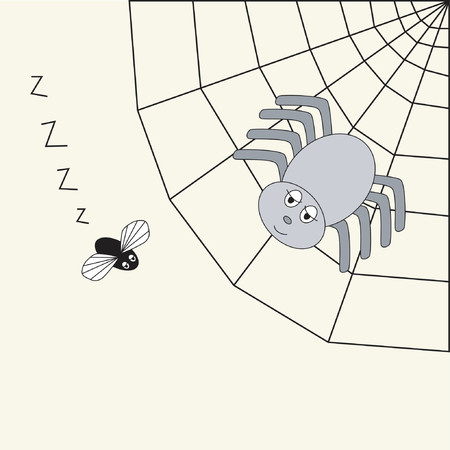 food poison: Spider in its web, watching its prey Illustration