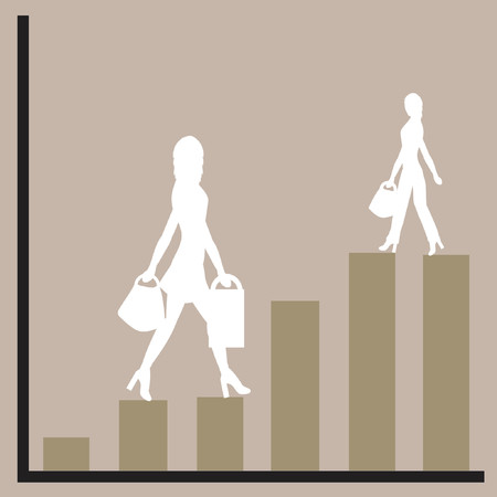 Graph showing rising profits with women silhouettes Vector