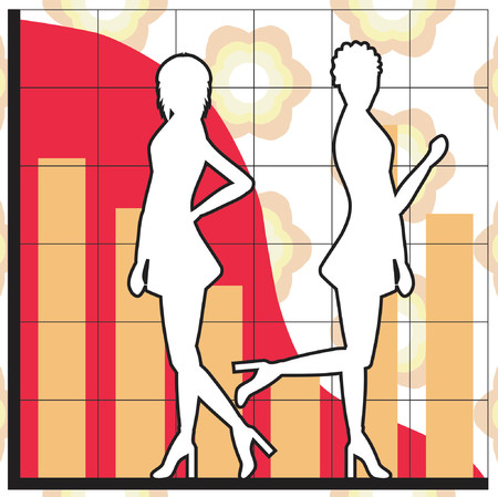 Silhouettes of women and business charts Vector