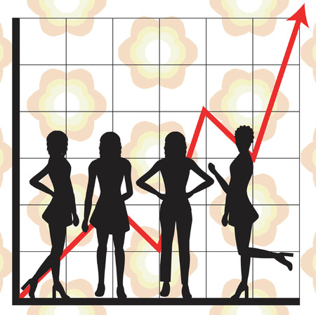 casual business team: Graph showing rising profits with people silhouettes