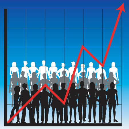 turnover: Silhouettes of men and women with business charts Illustration