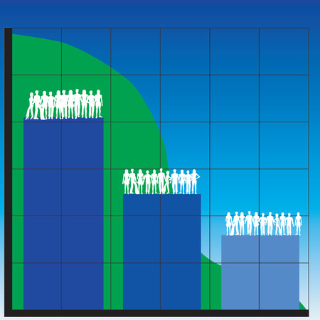 casual business team: Silhouettes of men and women with business charts Illustration