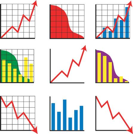 profit and loss: Nove diverse imprese grafici