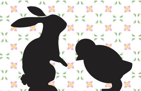 cottontail: Semana Santa de pollo y conejo  Vectores