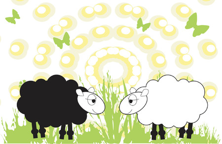 Sheep in a field Vector