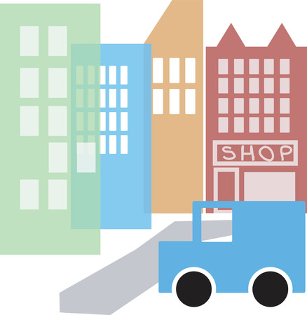 cartoon style cityscape - vector made up of several editable layers Illustration