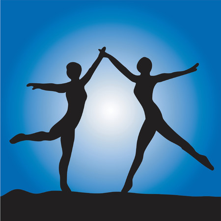 Two ballet dancers on a blue background
