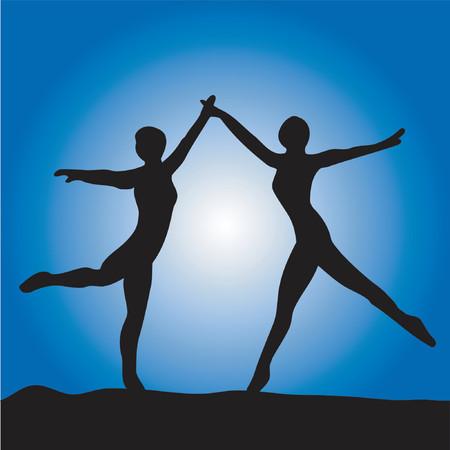 femme: Two ballet dancers on a blue background