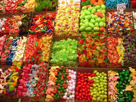 sweets on a market - Mercat de la boqueria (La Rambla), Barcelona Stock Photo