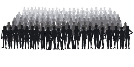 group of young adults: Silhouettes of people - large crowd
