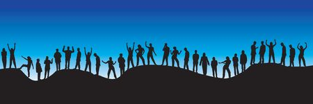 30 different people silhouettes Stock Photo