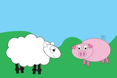 Cartoon sheep and pig in a field photo