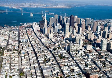Aerial view of downtown San Francisco, California Stock Photo