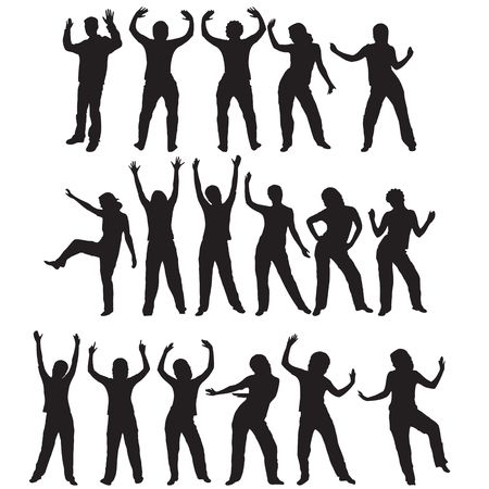 Different silhouettes of various dance poses