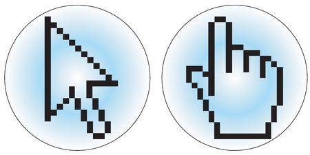 clic: a hand and arrow cursor