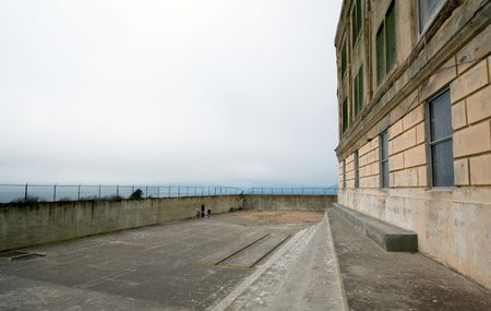 View of the exercise yard at Alcatraz, San Francisco photo